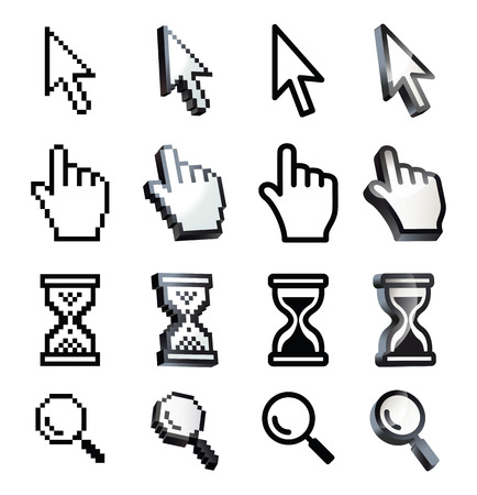 Cursor. Hand, arrow, hourglass, magnifying. Black and white vector illustration. Conceptual illustration. Isolated on white background Stock Illustratie
