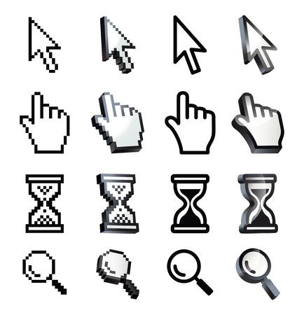 klik: Cursor. Hand, pijl, zandloper, vergrootglas. Zwart en wit vector illustratie. Conceptuele afbeelding. Geïsoleerd op witte achtergrond Stock Illustratie