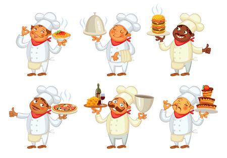 Chef servir el plato. personaje de dibujos animados divertido. Ilustración del vector. Aislado en el fondo blanco. Conjunto Vectores