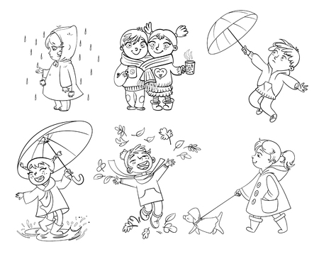warmly: I love autumn. Walk on outdoors. Children under the umbrella. Girl in a raincoat raindrop catches. Funny cartoon character. Vector illustration. Coloring book