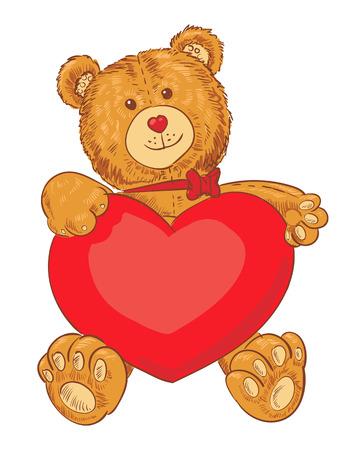 te amo: Juguete del oso de peluche que sostiene un coraz�n. personaje de dibujos animados divertido. Ilustraci�n del vector. Aislado en el fondo blanco