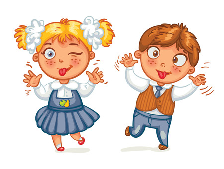 mignonne petite fille: Garçons et filles grimacent à la caméra. Personnage de dessin animé drôle. Vector illustration. Isolé sur fond blanc