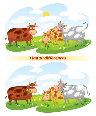 Find 10 differences. A herd of cows grazing in the meadow. Funny cartoon character. Vector illustration. Isolated on white background