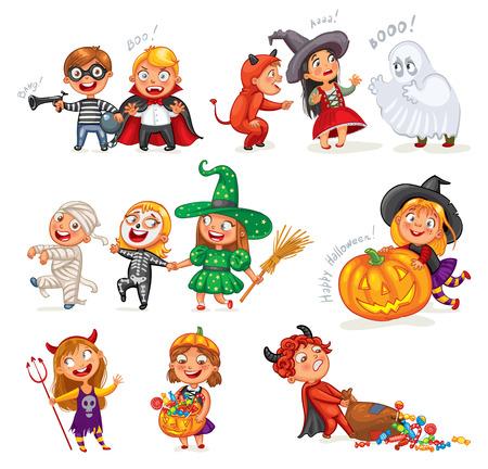 satan: Feliz Halloween. los niños pequeños divertidos en trajes coloridos. El ladrón, fantasma, de la mamá, esqueleto, bruja, vampiro, diablo. Personaje animado. Ilustración del vector. Aislado en el fondo blanco Vectores