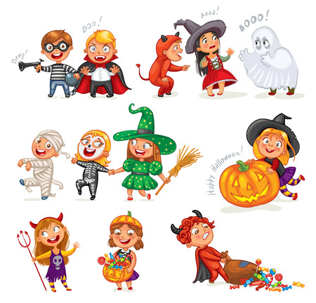 Happy Halloween. Funny little children in colorful costumes. Robber, ghost, mummy, skeleton, witch, vampire, devil. Cartoon character. Vector illustration. Isolated on white background Illustration