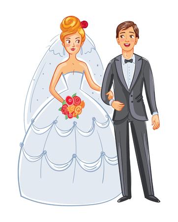 Novia y novio. Vista frontal. Posando juntos. Personaje de dibujos animados divertido. Ilustración del vector. Aislado en el fondo blanco