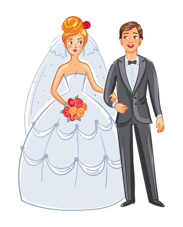 Bride and groom. Front view. Posing together. Funny cartoon character. Vector illustration. Isolated on white background Illustration