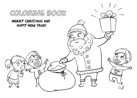 brings: Santa Claus brings gifts to children. Merry Christmas and happy New Year. Funny cartoon character. Vector illustration. Coloring book. Black and white image