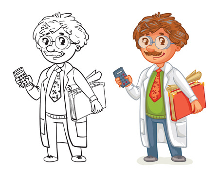 technician: Old professor in lab coat. Funny cartoon character. Vector illustration. Isolated on white background. Coloring book. Color and black and white image Illustration