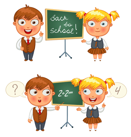 niño escuela: Volver a la escuela. Colegial y colegiala de pie en la pizarra. Personaje de dibujos animados divertido. Ilustración del vector. Aislado en el fondo blanco. Conjunto
