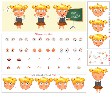 Schoolgirl. Parts of body template for design work and animation. Face and body elements. Funny cartoon character. She nodded her head yes. She shook her head no. Vector illustration. Set