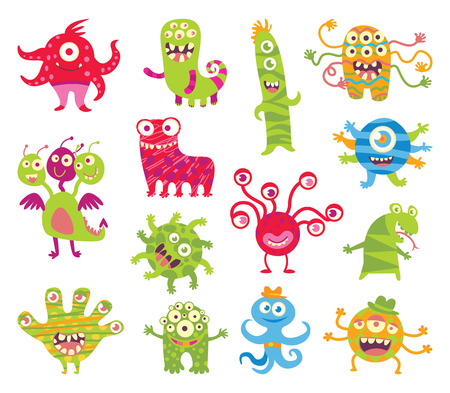 spook: Set of funny little monsters. Funny cartoon character. Vector illustration. Isolated on white background