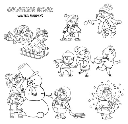girl tongue: Playing outdoor. Children sledding. Boy and girl playing in snowballs. Schoolchildren making the snowman. Girl trying to catch snowflakes with her tongue. Funny cartoon character. Coloring book Illustration