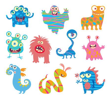 Conjunto de pequeños monstruos divertidos. personaje de dibujos animados divertido. Ilustración del vector. Aislado en el fondo blanco