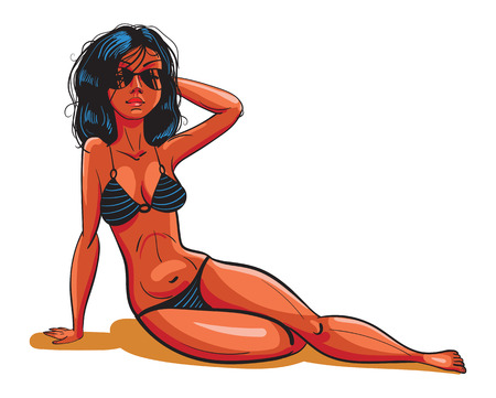 brunet: Beautiful girl sunbathing on the beach in black striped bikini. Funny cartoon character. Vector illustration. Isolated on white background Illustration