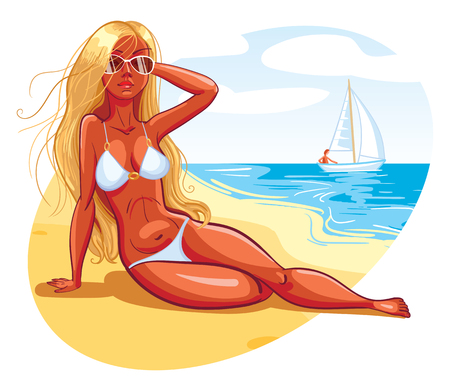 niña: La muchacha toma el sol en la playa. Personaje de dibujos animados divertido. Ilustración del vector. Aislado en el fondo blanco