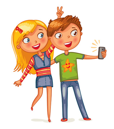 ni�os inteligentes: Ni�o y ni�a posando juntos. Los amigos que hacen autofoto. personaje de dibujos animados divertido. Ilustraci�n del vector. Aislado en el fondo blanco