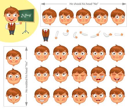 ni�o llorando: Colegial. Las partes del cuerpo de plantilla para el trabajo de dise�o y animaci�n. Faciales y corporales elementos. personaje de dibujos animados divertido. Asinti� con la cabeza s�. �l neg� con la cabeza. Ilustraci�n del vector. Conjunto