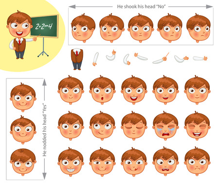 sad cartoon: Schoolboy. Parts of body template for design work and animation. Face and body elements. Funny cartoon character. He nodded his head yes. He shook his head no. Vector illustration. Set
