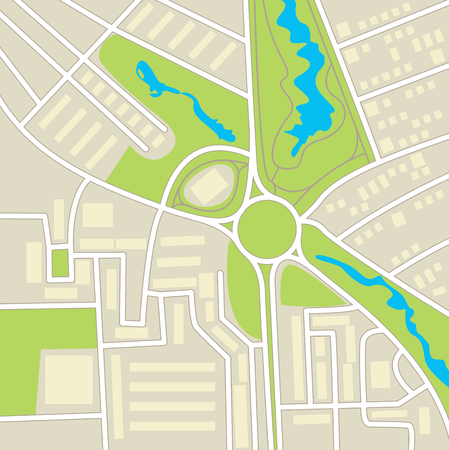 vegetation: City map. Schematic cartographic representation of roads, homes, vegetation and ponds
