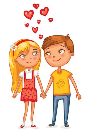 couples: Happy Valentines Day. Loving couple holding hands. Funny cartoon character. Vector illustration. Isolated on white background