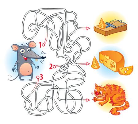 Ayuda al ratón para encontrar el camino correcto en el laberinto y conseguir el queso. Juego de laberinto con solución. Adivinanzas con líneas enredadas. Personaje de dibujos animados divertido. Ilustración del vector. Aislado en el fondo blanco