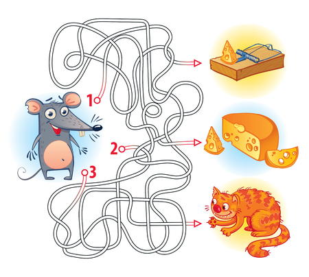 Help the mouse to find the right way in the maze and get the cheese. Maze Game with Solution. Riddles with tangled lines. Funny cartoon character. Vector illustration. Isolated on white background
