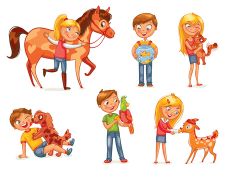 little boy and girl: Caring for animals. Dog licking boys face. Girl hugging a kitten. Girl fawn feeding bottle of milk. Jockey patting a horse. Funny cartoon character. Vector illustration. Isolated on white background