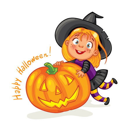 beautiful vampire: Happy Halloween. Funny little child in colorful costumes. Girl dressed as a witch and halloween pumpkin. Cartoon character. Vector illustration. Isolated on white background Illustration
