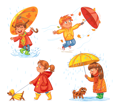gumboots: I love autumn. Walk on outdoors. Children under the umbrella. Girl walking a dog. Kid enjoys the rain. Umbrella wind blows. Funny cartoon character. Vector illustration. Isolated on white background