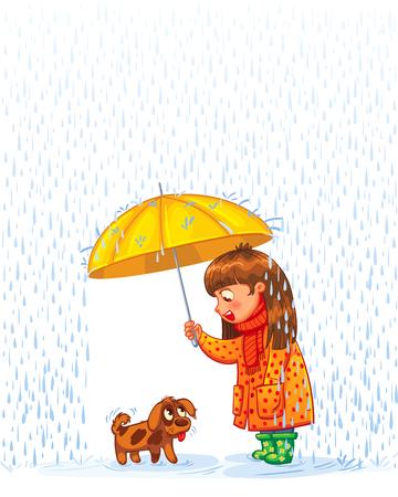 vagabundos: La muchacha bajo un paraguas con un pequeño cachorro sin hogar. Proteger mascota de la lluvia de otoño. Personaje de dibujos animados divertido. Ilustración del vector. Aislado en el fondo blanco