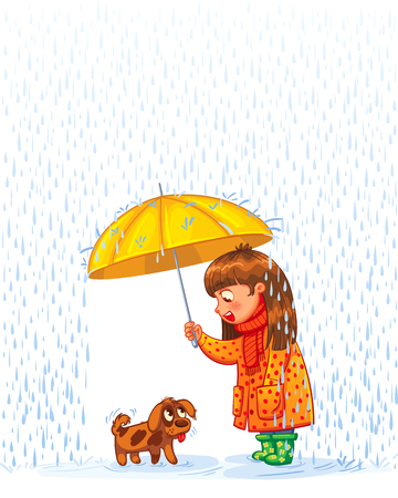 sotto la pioggia: La ragazza sotto un ombrello con un piccolo cucciolo senza casa. Proteggere animale da pioggia autunnale. Personaggio divertente cartone animato. Illustrazione vettoriale. Isolato su sfondo bianco