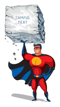 super man: Super man raises a big boulder with text. Template ready for your message. Funny cartoon character. Vector illustration. Isolated on white background