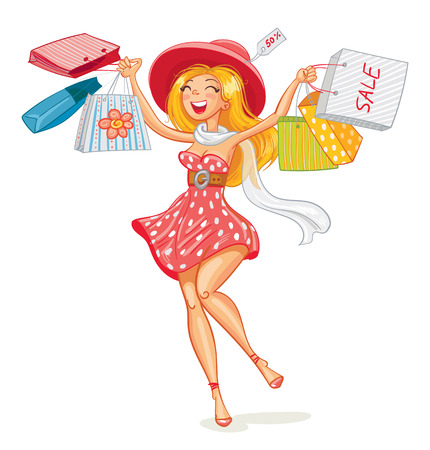 comprando: Ni�a feliz con bolsas de compras en la tienda. Comprador. Ventas. Personaje de dibujos animados divertido. Ilustraci�n del vector. Aislado en el fondo blanco