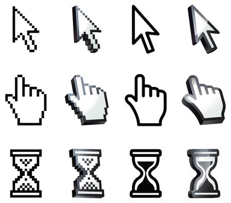 cursor: Cursor. Hand, arrow, hourglass