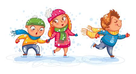 屋外プレイ。面白い子供たちがスケートをします。かわいい漫画のキャラクター。ベクトルの図。白い背景に分離