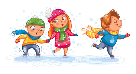 winter clothing: Playing outdoor. Funny children are skating. Cute cartoon character. Vector illustration. Isolated on white background