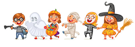 specter: Happy Halloween. Funny little children in colorful costumes. Robber, ghost, mummy, skeleton, witch. Cartoon character. Vector illustration. Isolated on white background