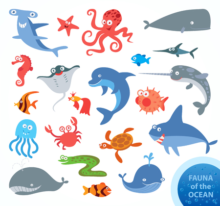 Set funny fauna of ocean. Narwhal, hammerhead shark, white shark, whale, dolphin, swordfish, turtle, jellyfish, octopus, sea horse, crab, starfish. Funny cartoon character. Vector illustration Stock Illustratie