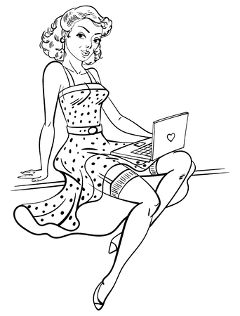internet dating: Pin-up girl. Concept for online internet dating. Funny cartoon character. Vector illustration. Coloring book. Black and white