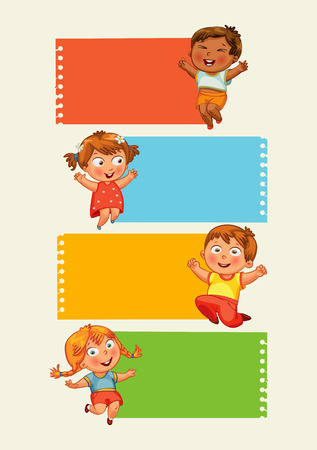 active kids: Back to school. Collection of infographics elements in the form of paper tape for various purposes. Funny cartoon character. Vector illustration. Set Illustration