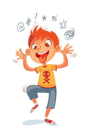 The boy swearing and grimacing for the camera. Funny cartoon character. Vector illustration. Isolated on white background Stock Illustratie