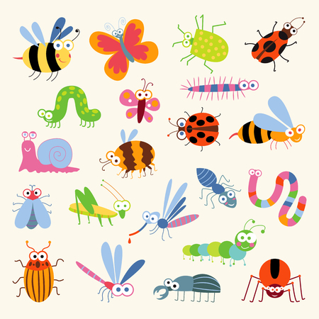 mariquitas: Establecer insectos divertidos. Personaje animado. Aislado en el fondo blanco. Avispa, abeja, abejorro, mariposa, gusano, oruga, escarabajo, mariquita, saltamontes, moscas, mosquitos, libélula, araña, caracol, hormiga