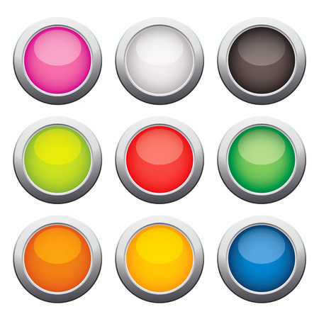 glass buttons: Glossy glass buttons. Vector illustration. Isolated on white background. Set