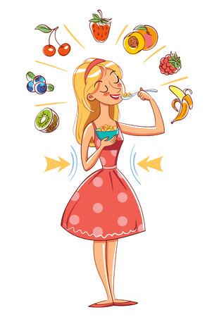 niña comiendo: Comida saludable. Slim chica comiendo cereales. Pérdida de peso. Personaje de dibujos animados divertido. Ilustración del vector. Aislado en el fondo blanco