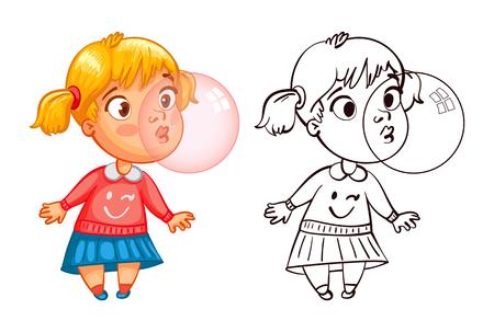 面白い女の子は風船ガムを膨らませます。面白い漫画のキャラクター。ベクトルの図。塗り絵。白い背景に分離