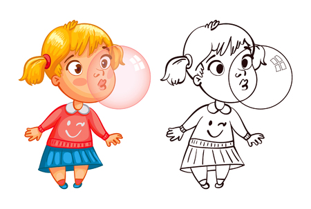Funny girl inflates a bubble of gum. Funny cartoon character. Vector illustration. Coloring book. Isolated on white background Vectores