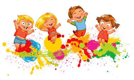 crazy people: Los niños que saltan en el chapoteo del color de fondo. Bandera. personaje de dibujos animados divertido. Ilustración del vector. Aislado en el fondo blanco