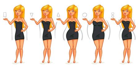cuerpo completo: 5 tipos de figuras femeninas. Triángulo, triángulo invertido, rectángulo, redondeado, reloj de arena. Personaje de dibujos animados divertido. Ilustración del vector. Aislado en el fondo blanco Vectores