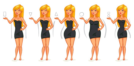 female fashion: 5 types of female figures. Triangle, inverted triangle, rectangle, rounded, hourglass. Funny cartoon character. Vector illustration. Isolated on white background Illustration